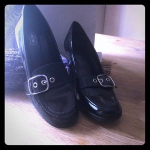Coach black leather shoes with buckle
